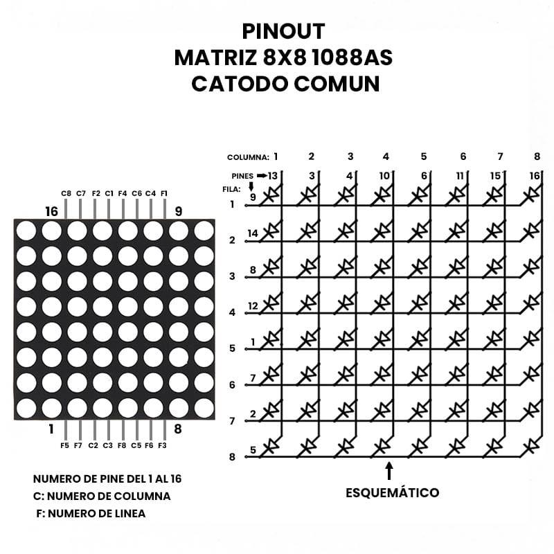 Matriz Led 8x8 1088as Unit Electronics Cdmx Electrónica